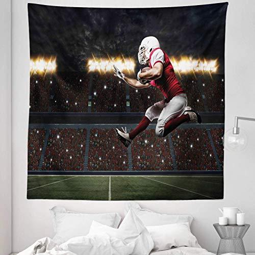 Tapiz deportivo tamaño queen, jugador de fútbol con uniforme rojo corriendo en un estadio profesional, colcha para colgar en la pared, cubierta de cama, decoración de pared, 88 'x 88', verde oliva