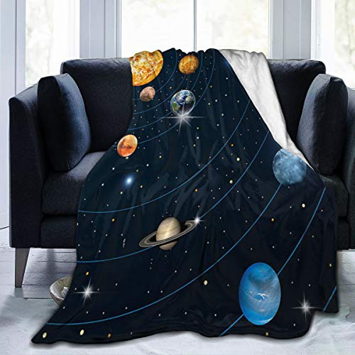 Eilli Solar System Sun Planets Orbit Astronomy Outer Space Flannel Throw...
