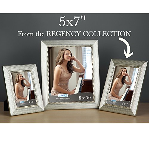 Icona Bay 5x7 Picture Frame (1 Pack, Silver), Silver Photo Frame 5 x 7, Wall Mount or Table Top, Regency Collection