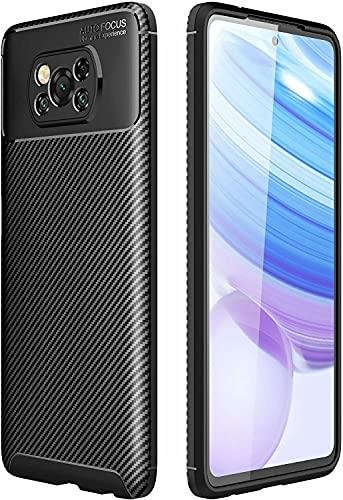 BNBUKLTD® Compatible con Xiaomi Poco X3 Funda de Gel de Carbono Ultra Delgado a Prueba de Golpes