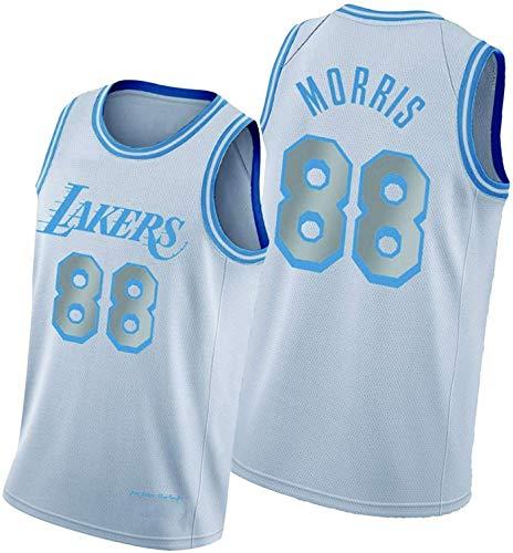 Jersey De Baloncesto Masculino Laker 88# Morris, Camisetas De Baloncesto Retro Fresco Y Transpirable Jersey Chaleco,Blanco,XXL185~190cm