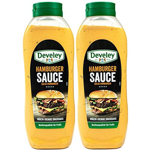 Develey - 2er Set Original Hamburger Sauce mit feinen Gurken- und Zwiebelstückchen 875 ml - Würzig cremige Hamburgersoße - Soße geeignet für Burger, Sandwich und Gegrilltem - (Classic Burgersauce)