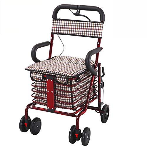 DOSNVG Ultra Rollators Lightweight Folding 4 Wheels Outdoor Walker Gehhilfe Mit Gepolsterter SitzmobilitäTsausrüStung, Red Wine