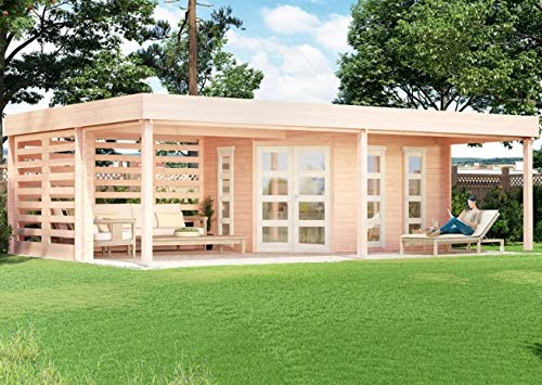 CARLSSON Massivholz Garten Blockhaus PANAMA-40 mit Boden - Holz Gartenhaus mit bodentiefen Echtglas Fenstern - Blockhütte ohne Imprägnierung, normal