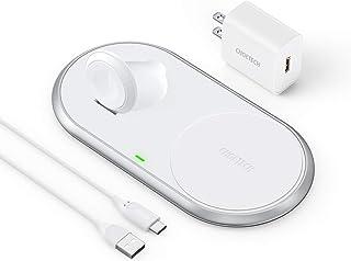ワイヤレス充電器 iPhone アップルウ ォッチ充電器 2in1 MFI認証済み 磁気折り畳み式 【2020最新版・QC 3.0対応急速充電器付属】10W/7.5W 2台同時充電 Apple Watch series SE/6/5/4/3/2...