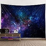 XIXIK Stoff-Wanddekoration, psychedelisches Galaxie-Universum, für Schlafzimmer, Wohnzimmer, Wohnheim, Polyester, Schwarz , 150x130cm
