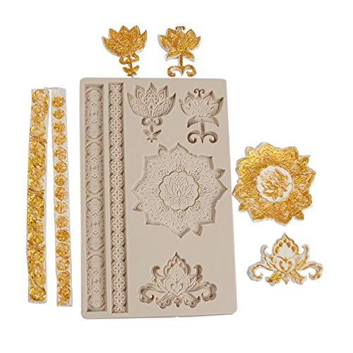 Y-POWER Royal Flower Moldes de silicona Curlicues Scroll Encaje Azucarería Gumpaste Cocinar