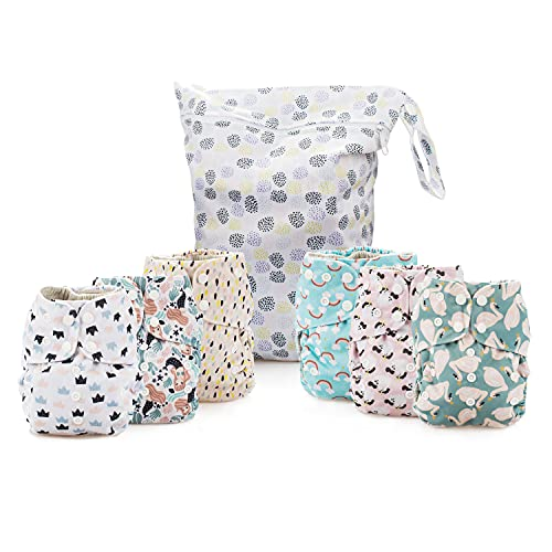 Simple Being Reusable Cloth Diapers- Double Gusset-6 Pack Pocket Adjustable Size-Waterproof Cover-6 Inserts-Wet Bag (Whimsical)