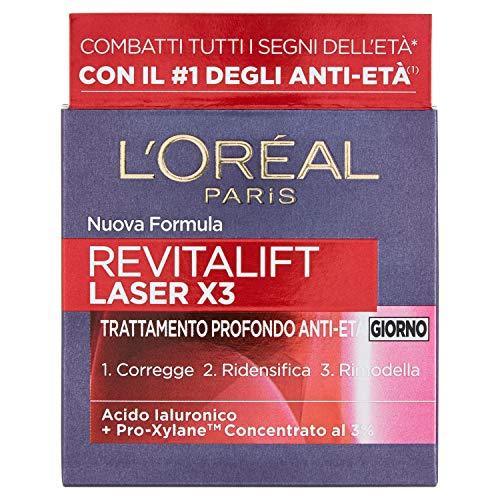 L'Oréal Paris Crema Viso Giorno Revitalift Laser X3, Azione AntiRughe Anti-Età con Acido Ialuronico e Pro-Xylane, 50 ml, Confezione da 1