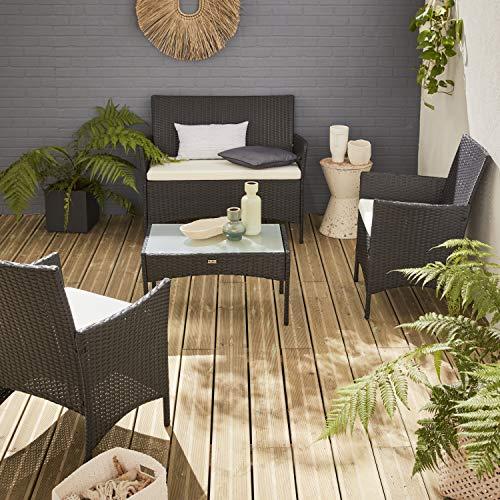Salon de Jardin en résine tressée - Moltès - Noir, Coussins Ecru - 4 Places - 1 canapé, 2 fauteuils, Une Table Basse