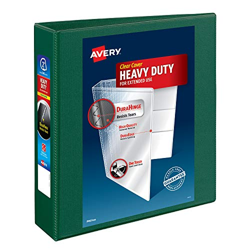 """Avery Heavy Duty View 3 Ring Binder, 2"""" One Touch EZD Ring, Holds 8.5"""" x 11"""" Paper, 1 Green Binder (79683)"""