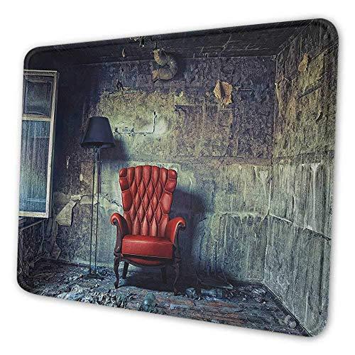 Antikes Mauspad-Muster Alte Sessel-Stehlampe im Grunge-Innenraum Beschädigtes unordentliches verlassenes Haus Wasserdichtes Mauspad Hellgrün Rot Schwarz