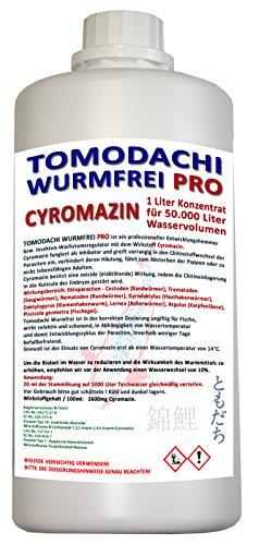 Tomodachi Wurmfrei Wurmmittel Koiteich, antiwurm - wurmfrei, karpfenlausfrei mit Cyromazin - gegen Würmer Karpfenläuse, Fischegel im Koiteich 1L Cyromazin Konzentrat für 50.000L Teichwasser