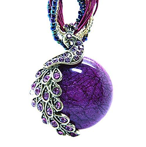 MOMODARLING Women's Vintage Bohemian Style Phoenix Peacock Crystal Diamond Opal Pendant Necklace (Purple)