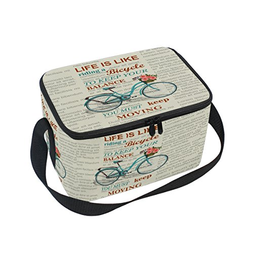 ALAZA Vélo Floral Sac à déjeuner Isotherme Box Cooler Sac fourre-Tout réutilisable Sac extérieur Voyage Sac de Pique-Nique avec bandoulière pour Femmes Hommes Adultes Enfants 10x7x6 inches Jaune