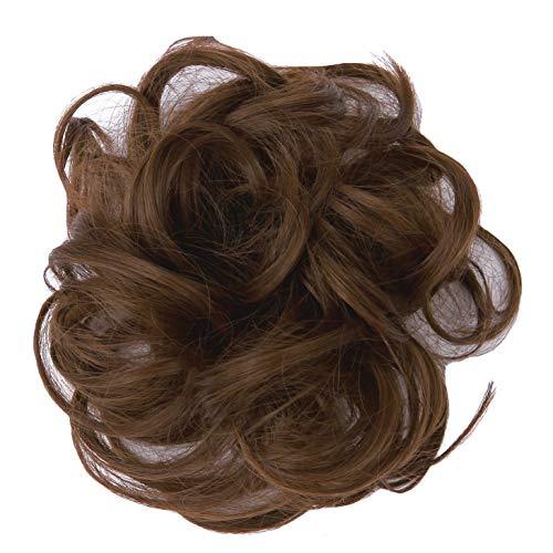 PrettyWit Extensions de cheveux ondulés, chignon effet décoiffé, chouchou à chignon, ruban pour queue de cheval