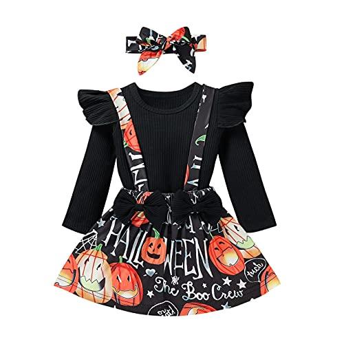 BIBOKAOKE Conjunto de falda para bebé, niña, con volantes, blusa de manga larga y tirantes y falda con lazo, cinta para la frente, conjunto de 3 piezas, con lazo, falda, vestido, ropa