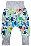 Wollhuhn ÖKO Lässige Babyhose Elefanten grau/bunt für Jungen und Mädchen (aus Öko-Stoffen, Bio), 20180516, Größe: 86