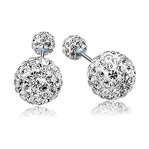 BUKEQILA Pendientes de plata de ley 925, 6-10 mm, doble bola de cristal austriaco, con bolsa de regalo, tres tipos de llevar