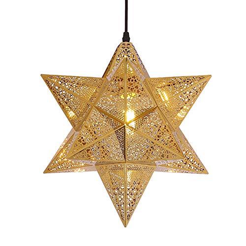 QB Luz de Techo en Forma de Estrella marroquí Lámparas Colgantes de araña Dorada de Acero Inoxidable Retro E27 Pantalla Hueca Restaurante Dormitorio Deco Iluminación para el hogar,S