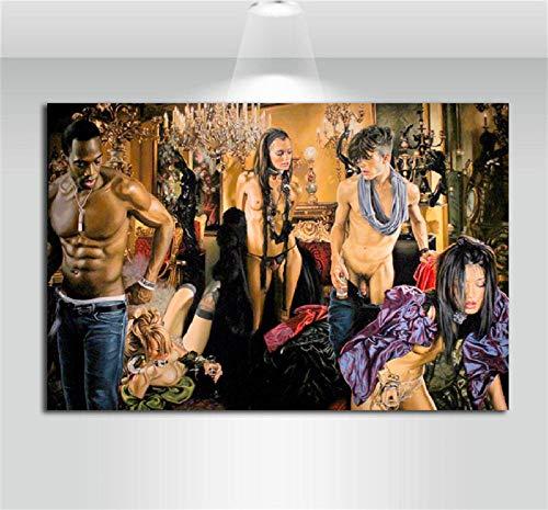 HNZKly Bikini Frauen Mann Realistische öL Leinwand GemäLde Moderne Skandinavische Banksy Wohnzimmer Home Schlafzimmer Dekor Moderne Wand Bilder öLgemäLde 50x75cm / Ungerahmt