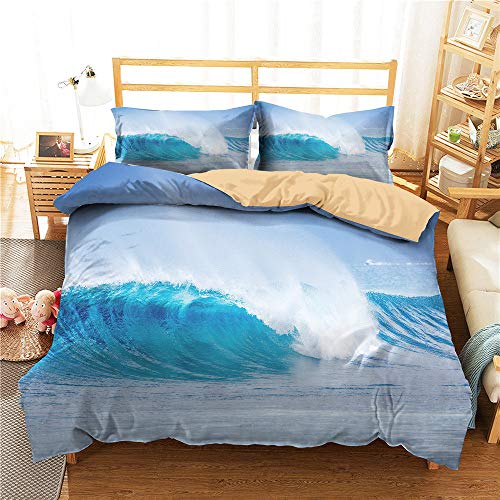 Ensemble de literie 3D Blue Ocean Wave Ensemble de Parure de Lit Simple Double King Parure de Lit Taie d'oreiller Ensemble de Couette en Microfibre Garçon Teen Girl Femme Literie,King,3pcs(220X240cm)