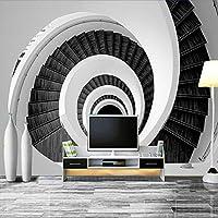 現代の創造的な3D壁画壁紙黒と白の渦巻き階段シンプルなファッション壁紙リビングルームの背景-480cm(W)x290cm(H)