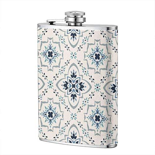 XBYC Trinkflaschen für Alkohol, Talavera Pattern. Azulejos Portugal. Türkische Verzierung. Marokkanische Fliesen Mosaik 8 Unzen Edelstahl Flachmann für Alkohol für Männer