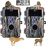 [2021 Upgrade] 2-Pack Night Vision Game Trail Cameras 20MP 1080P H.264 MP4 Video No Glow Deer Hunting Cams IP66 Waterproof & Password Protected Motion Activated Photo & Video Model Time Lapse