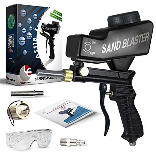 "Sand Blaster, Sand Blaster Gun Kit, Sandblaster with 2 Replaceable Tips & ¼"" Quick Connect, Safety Goggles, Filter, Media Guide. Works with All Blasting Abrasives – Professional Series (AS118-BL)"