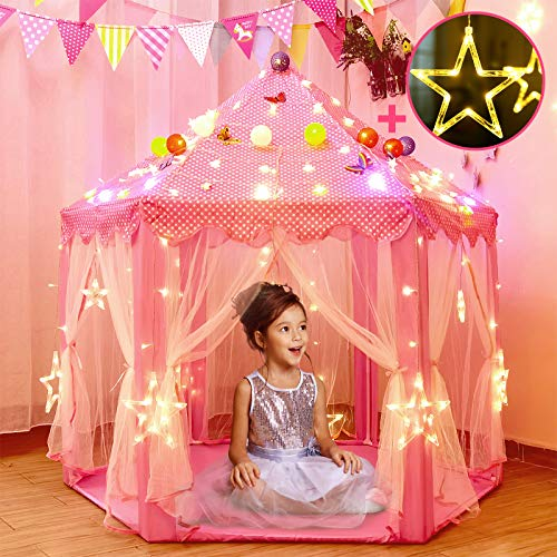 Princess Tent for Girls with Large Star Lights, Kids Play Tents Toys for Toddler, Fairy Castle Playhouse Gifts for Children Indoor and Outdoor Games (pink)
