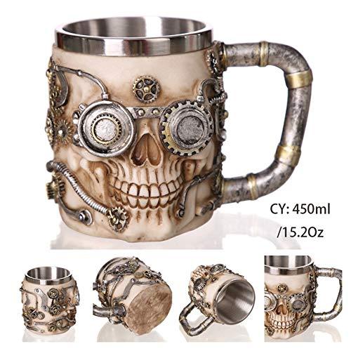 De beste pitcher van bier in hars en stalen gotische Schedel van de Ridder draak Halloween Kerst Tea Café Bar Pub Decor,robot