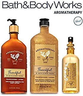 Bath and Body Works Aromatherapy THANKFUL FRANKINCENSE MYRRH TRIO Gift Set - Body Lotion 6.5 oz, Body Wash Foam Bath 10 oz, Pillow Mist 5.3 oz