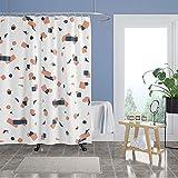 Haidms Duschvorhang aus Stoff für Badezimmer, weißer grafischer Badvorhang, modern, maschinenwaschbar, wasserdicht, mit rostwiderstandsfähigen Metallösen, 183 x 183 cm