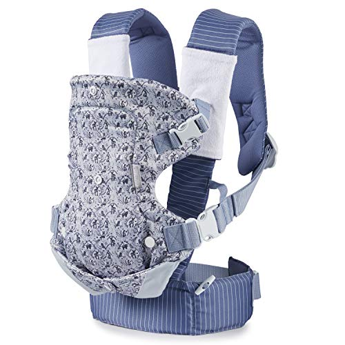 Infantino Limited Edition Flip 4-in-1 Baby Carrier | Woodland Toile 4-Position Infant Carrier with (2) Terry Cloth Strap Wraps & (1) Muslin Bib/Slip Cloth. Machine Washable, Blue
