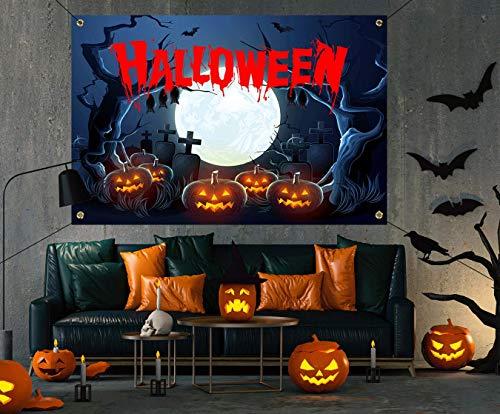 Halloween Decorations Outdoor – Happy Halloween Creepy Halloween Decor Large Banners, Backdrop Background Banner for indoor Home Front Door Wall,600D Fabric Halloween Party Supplies
