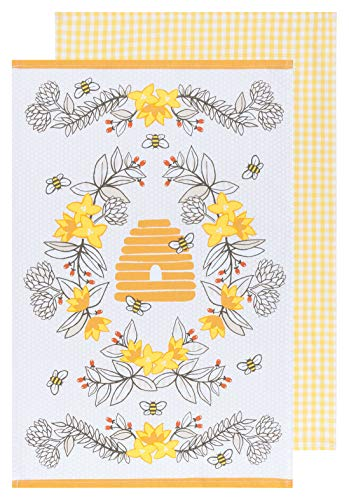 Now Designs Kitchen Tea Towel, Bees - 18 x 28 in   Set of 2