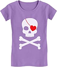 Pirate Skull & Heart Valentine's Day Toddler/Kids Girls' Fitted T-Shirt