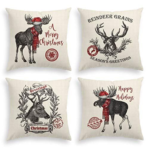 AVOIN Christmas Reindeer Throw Pillow Cover, 18 x 18 Inch Winter Holiday Rustic Cushion Case for Sofa Couch Set of 4