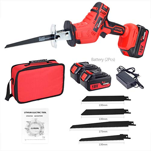 Cordless Reciprocating Saw 18V Brushless Variable Speed Lithium Saber Saw with 2pcs 5AH Battery, for Wood and Metal Cutting Pruning with LED Light, 4 Saw Blades and Fast Charger