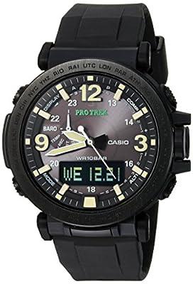 Casio Men's PRO TREK Stainless Steel Quartz Watch with Silicone Strap, Black, 30.5 (Model: PRG-600Y-1CR)