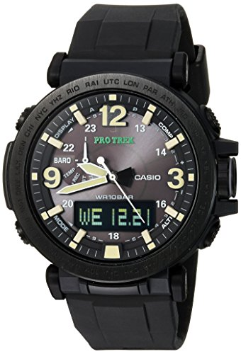 Casio Men's PRO TREK Stainless Steel Quartz Watch with Silicone Strap, Black, 30.5 (Model: PRG-600Y-1CR)