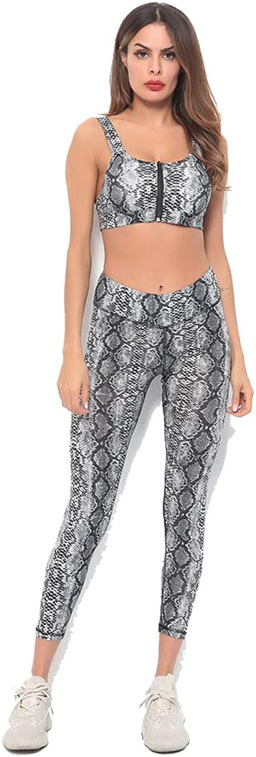 Women's Gym Yoga Sport Tracksuit Wild Snake Print Yoga Clothes Slim High Waist Fitness Suit Female Stretchy Workout Suit Set (Size   M)
