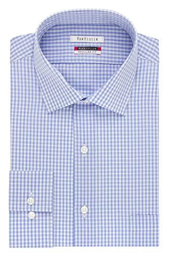 Van Heusen Men's Flex Collar Regular Fit Spread Collar Dress Shirt, Blue, 16.5' Neck 32'-33' Sleeve
