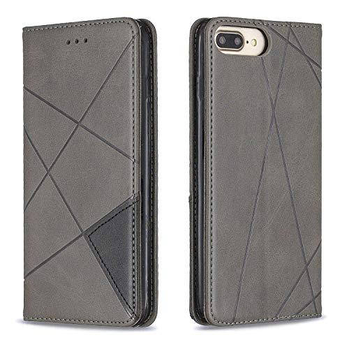 Hülle für iPhone 8 Plus/7 Plus Hülle Handyhülle [Standfunktion] [Kartenfach] Schutzhülle lederhülle klapphülle für Apple iPhone 8Plus/7Plus - DEBF090028 Grau