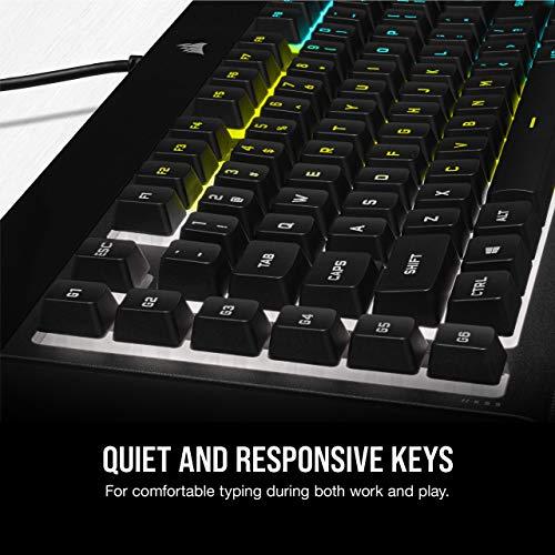 CORSAIR K55 RGB PRO - Dynamic RGB Backlighting - Six Macro Keys with Elgato Stream Deck Software Integration - IP42 Dust and Spill Resistant - Detachable Palm Rest - Dedicated Media and Volume Keys