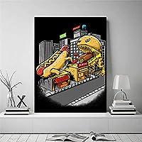 ホットドッグ対ハンブガーキャンバス絵画ポスター壁アート印刷画像モダンなリビングルームの装飾寝室の壁アート