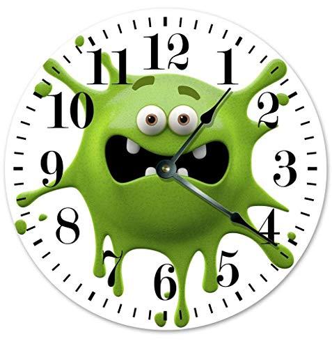 Mari57llis PRZ0VPRZ0V - Reloj de pared de madera clásico, sin ticking, 12 pulgadas, vintage, diseño de cara sonriente, color verde