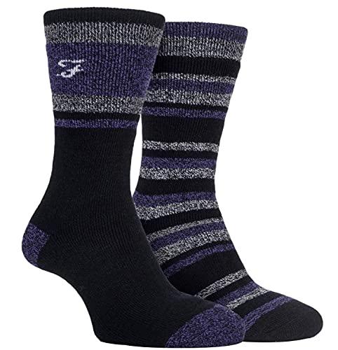 FARAH® Herren Innen gebürstet Stiefel Socken Packung mit 2 Schwarz/Holzkohle/Lila 39-45