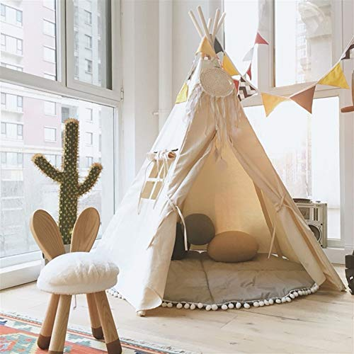 Play house Children's Play Tent with A Window, Kids Teepee Canvas Pop Up Playhouse Indoor Outdoor Games,Great For Playroom Bedroom Nursery Best Gifts,4 Poles Cotton canvas Playhouse Toy play tent